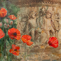 Acrylic painting Poppy-Fountain by Kimberley Senior