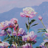 Acrylic painting Peonies-at-Lake by Kimberley Senior