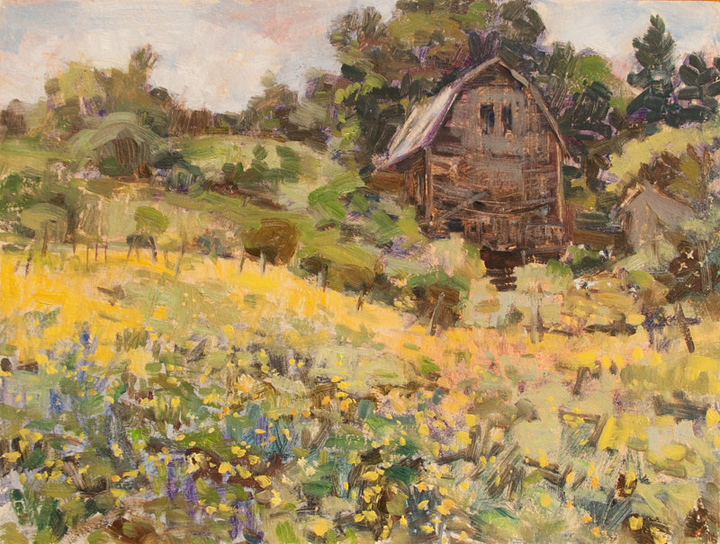 "Oil painting ""Buttercups and Barn"" by Kimberley Senior"