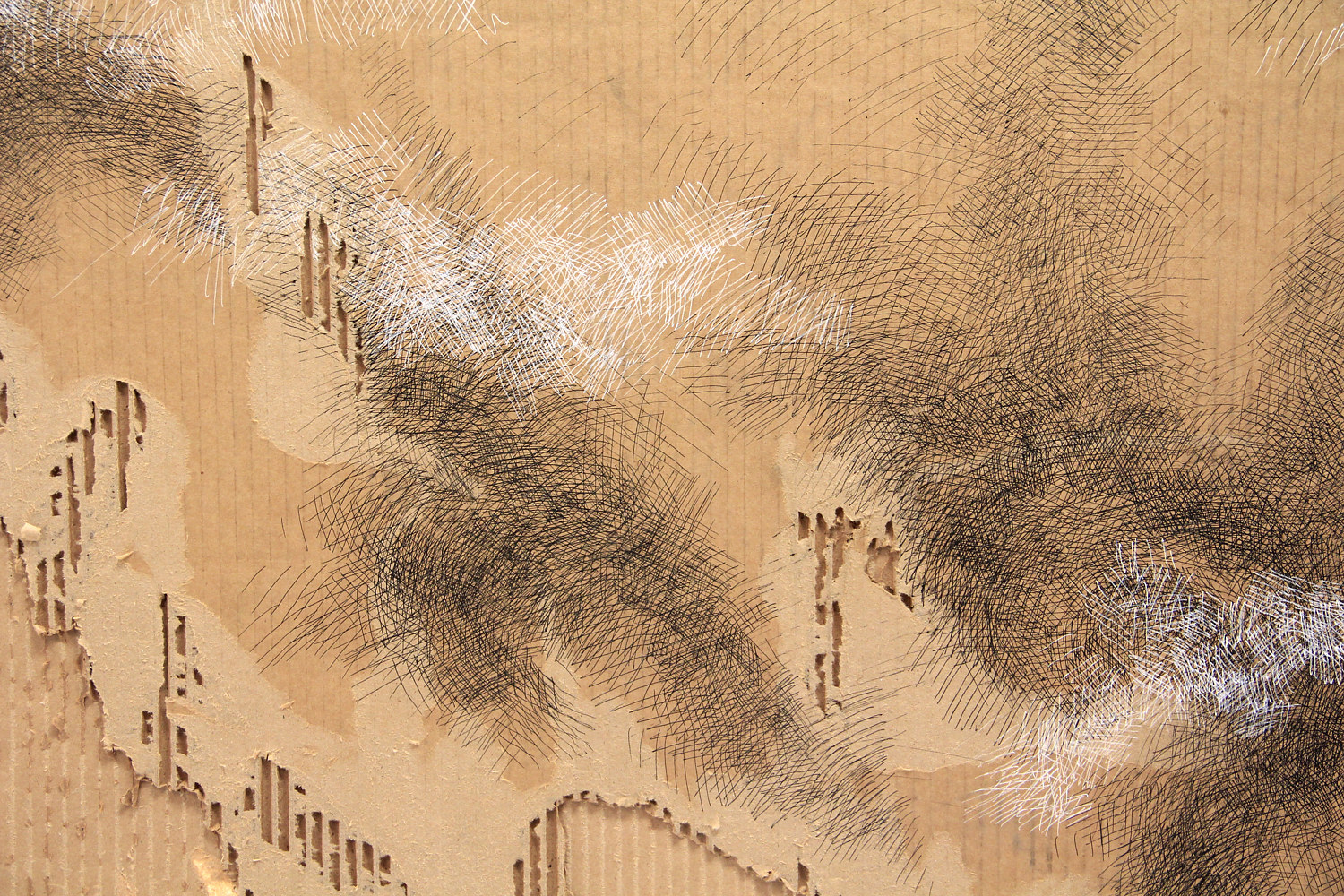 Drawing Man On The Edge Ascending Like Smog - detail view II by Sidi Chen