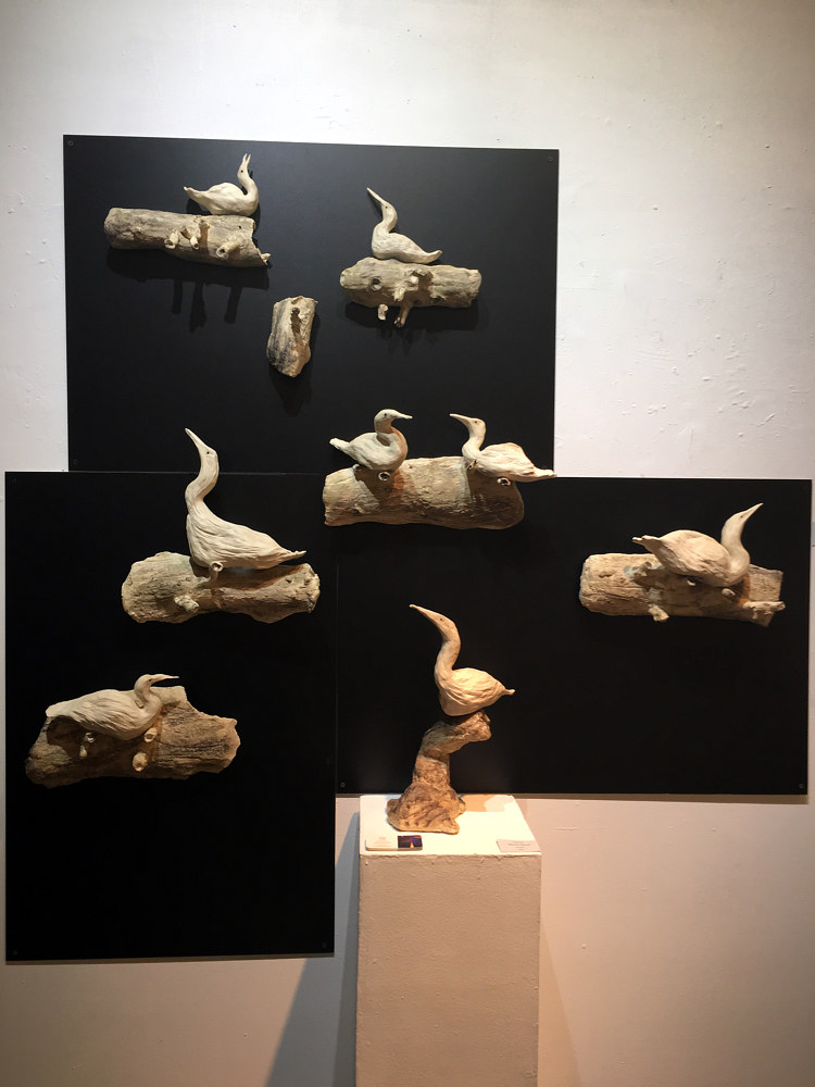 ceramic egrets winged by Sharon V Smith