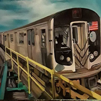 Oil painting Astoria N Line by Timothy Innamorato