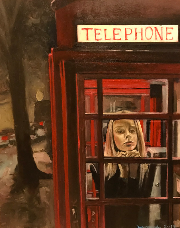 Oil painting Telephone Booth by Timothy Innamorato
