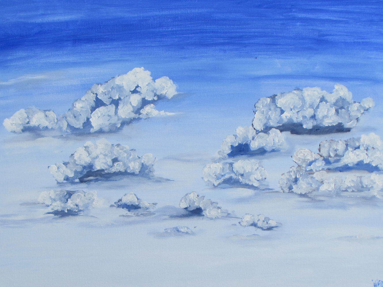 Acrylic painting Clouds to Waskesiu by Jasmine Calix