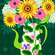 Summer Flowers in Coffee Pot by Valerie Lesiak