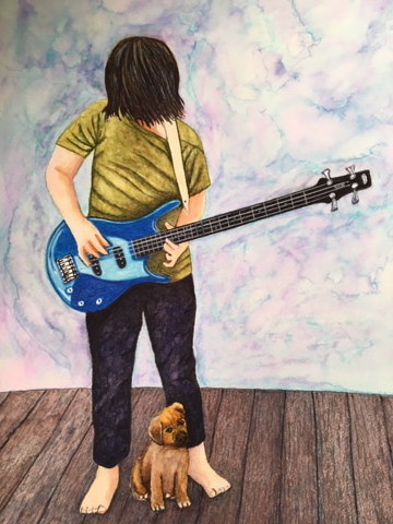 Watercolor Nick playing guitar by Susan Lynch