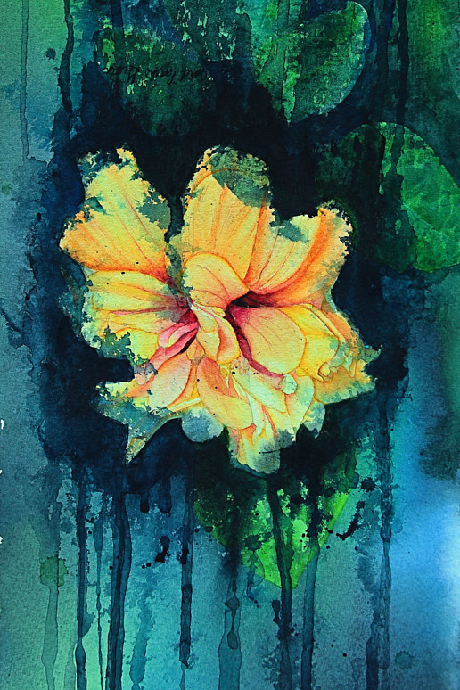 Painting Golden Hibiscus by Dianne Jane Gupta