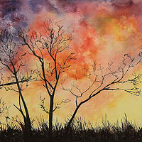 Painting Fiery Sunset by Dianne Jane Gupta