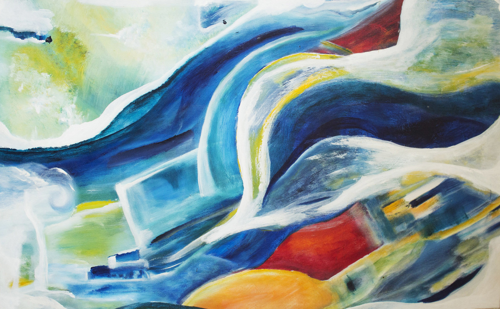 Acrylic painting Singing Waves | Vagues Chantantes by Nathalie Gribinski