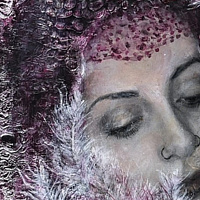 Mixed-media artwork The Feather Lady by Libuse Labik