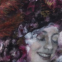 Mixed-media artwork Happiness by Libuse Labik