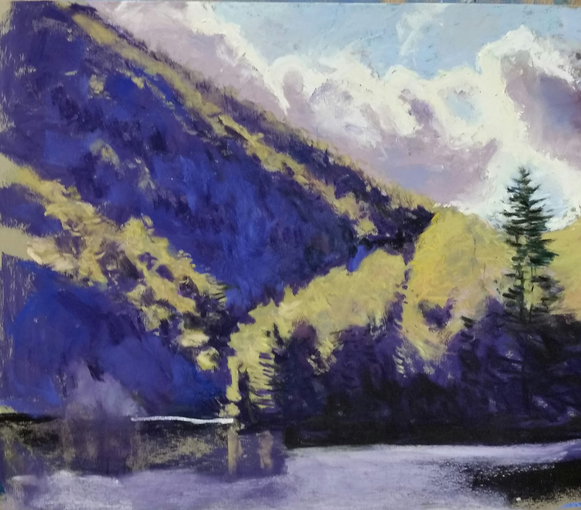 Drawing Sudden Light-Chapel Pond pastel 14x14in by Michael  Gaudreau