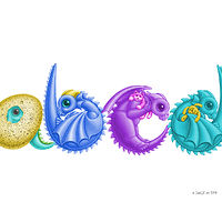 Print Custom four (4) Dragon Baby Letters art print by Sue Ellen Brown