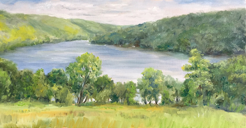 Oil painting Squantz Pond, New Fairfield, CT. by Betty Ann  Medeiros