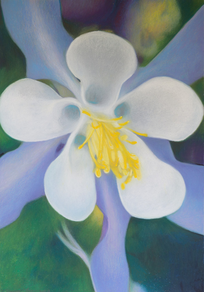 Oil painting Purple Columbine by Raymond Noesen