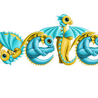 dragon babies 'pete', in turquoise and yellow by Sue Ellen Brown