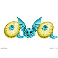 dragon babies 'ava', in turquoise and yellow by Sue Ellen Brown