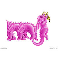 dragon babies mj, magenta, with a yellow jaguar by Sue Ellen Brown