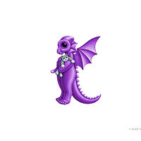 dragon baby k, purple with a grey kitty by Sue Ellen Brown