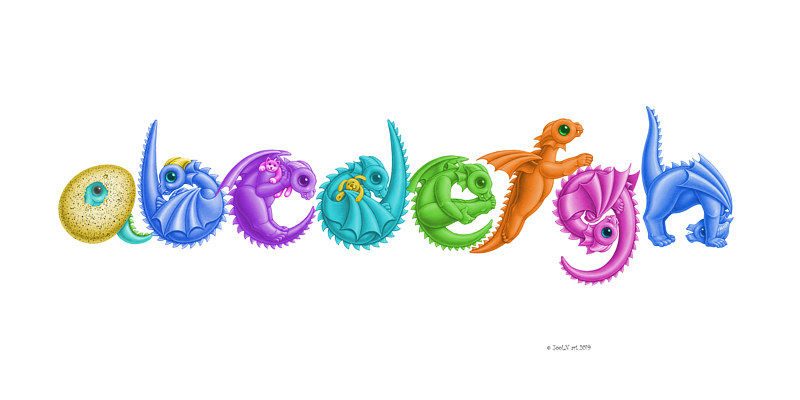 Print Custom eight dragon baby letters print by Sue Ellen Brown