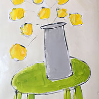 Acrylic painting Yellow Flowers/ Green Table by Sarah Trundle