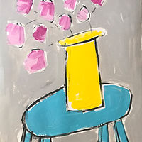 Acrylic painting Pink Flowers/ Turquoise Table by Sarah Trundle