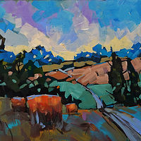 To the Back Fields  Acrylic  12x24 2019 by Brian  Buckrell