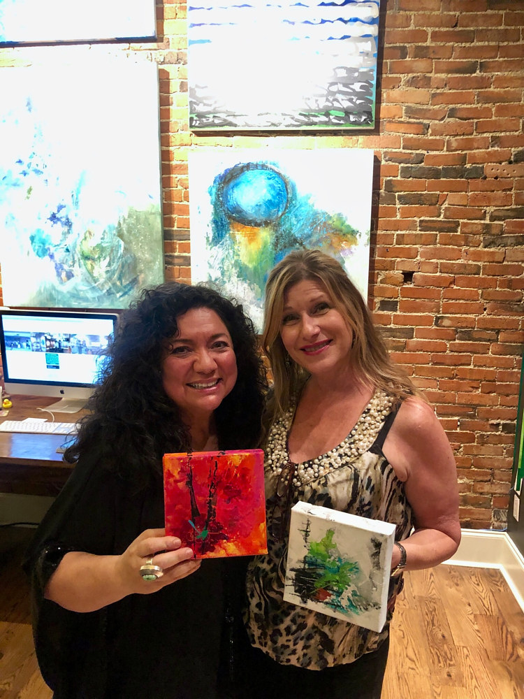 Happy Client on Art Walk Night in Nashville by Catron Wallace