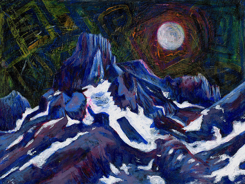 Full Moon Over Snow Mountain by Tracy  Dunbar