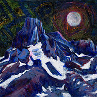 Acrylic painting Full Moon Over Snow Mountain by Tracy  Dunbar
