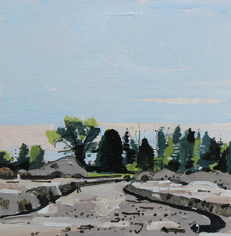 Acrylic painting Lakeside Site by Harry Stooshinoff