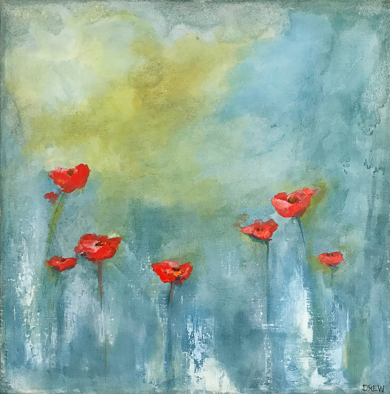 Acrylic painting Poppies by Drew Marin