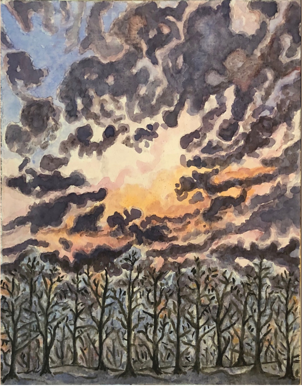 Watercolor SUNSET FROM A FOREST RIDGE by Anastasia O'melveny