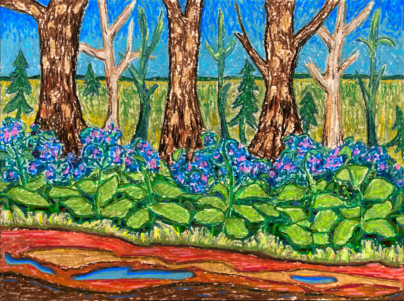 Oil painting Bluebells by the road by Anastasia O'melveny
