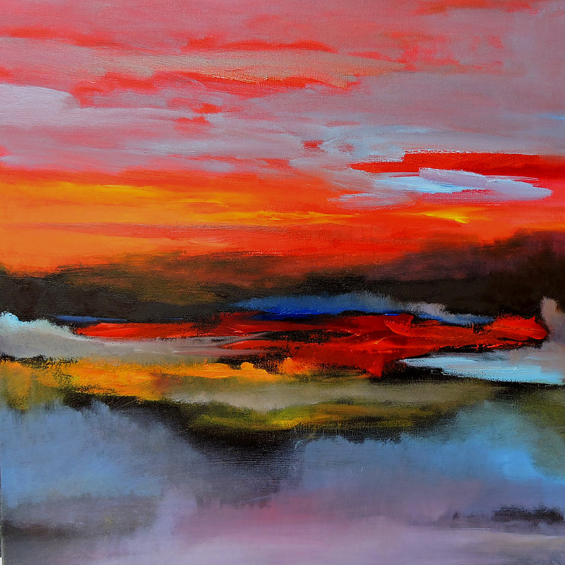 Oil painting Hot Sunset by Svetlana Barker
