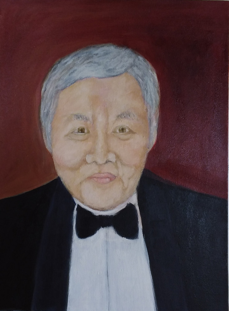 Oil painting Portrait of Apichart by Gwenda Branjerdporn