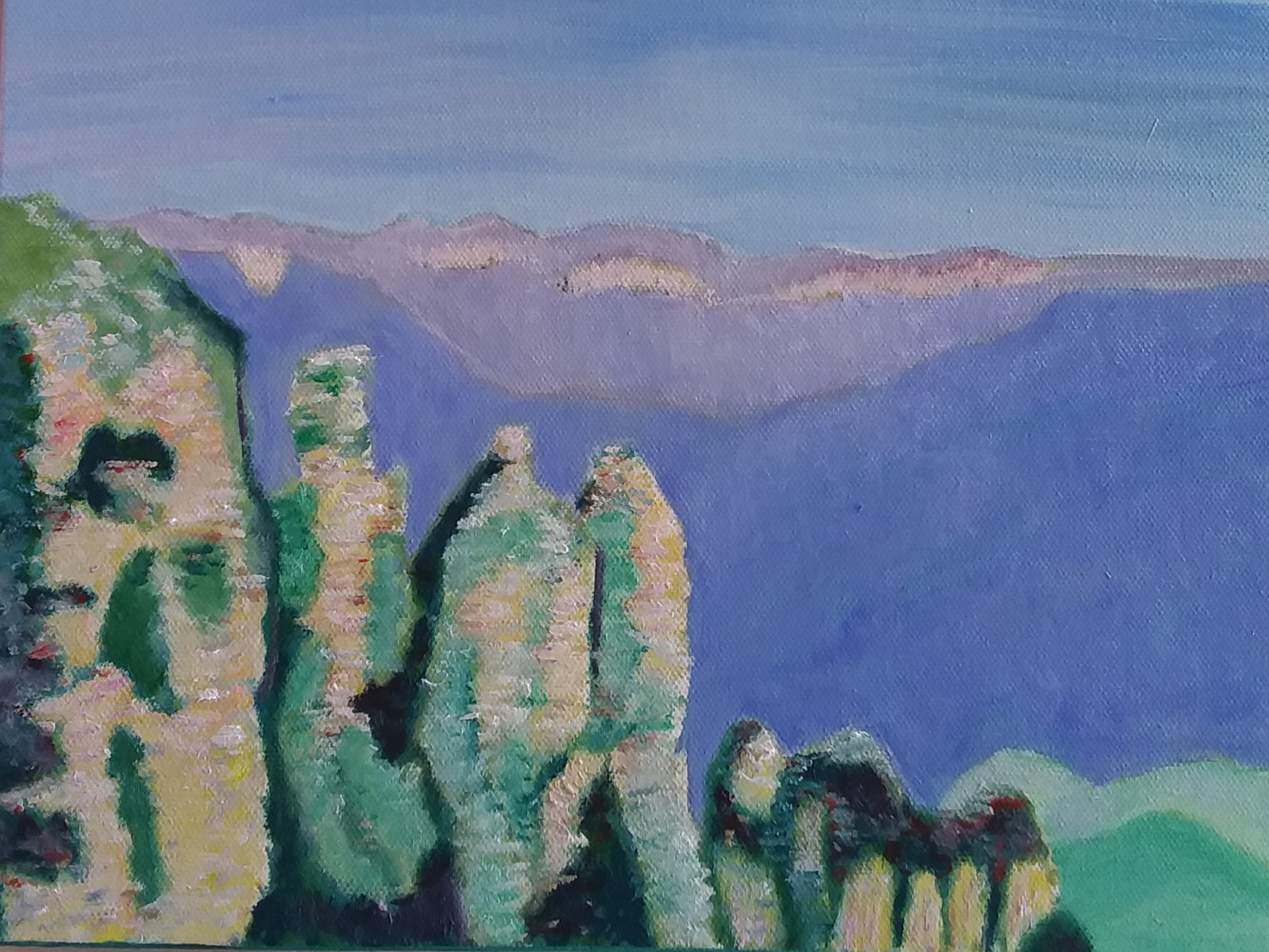 Oil painting The Three Sisters, Blue Mountains, Katoomba, NSW by Gwenda Branjerdporn