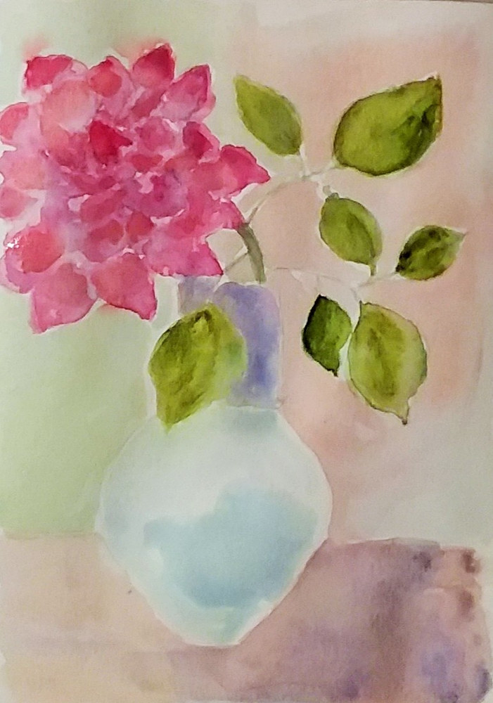 Painting Rose in a Vase by Gwenda Branjerdporn