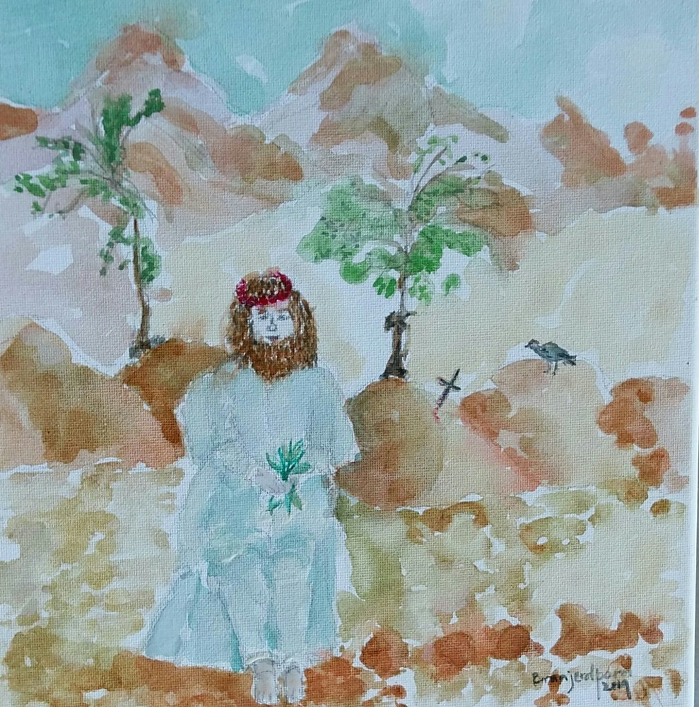 Painting Christ in the Wilderness  by Gwenda Branjerdporn