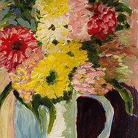 Acrylic painting A Colourful Vase of Flowers by Gwenda Branjerdporn