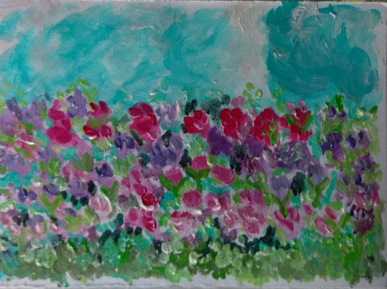 Acrylic painting Flowers in a Field by Gwenda Branjerdporn
