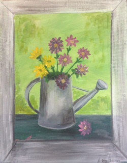 Painting Still-life with Daisies by June Long-schuman
