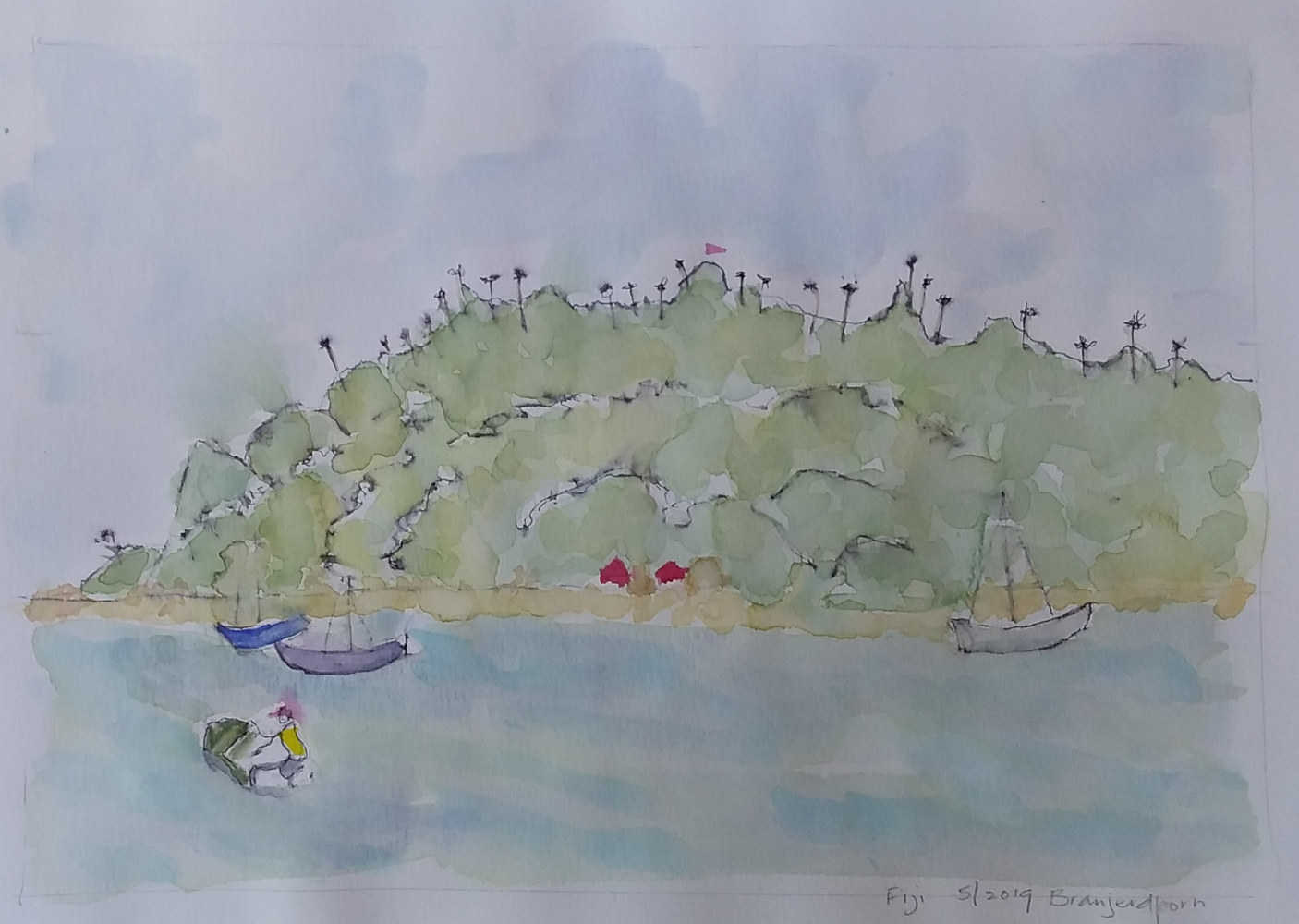 Drawing An Island in Fiji by Gwenda Branjerdporn