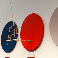 "detail:Outlier, 20"" x 16"" oval, acrylic on canvas with wood extension by Judy Southerland"