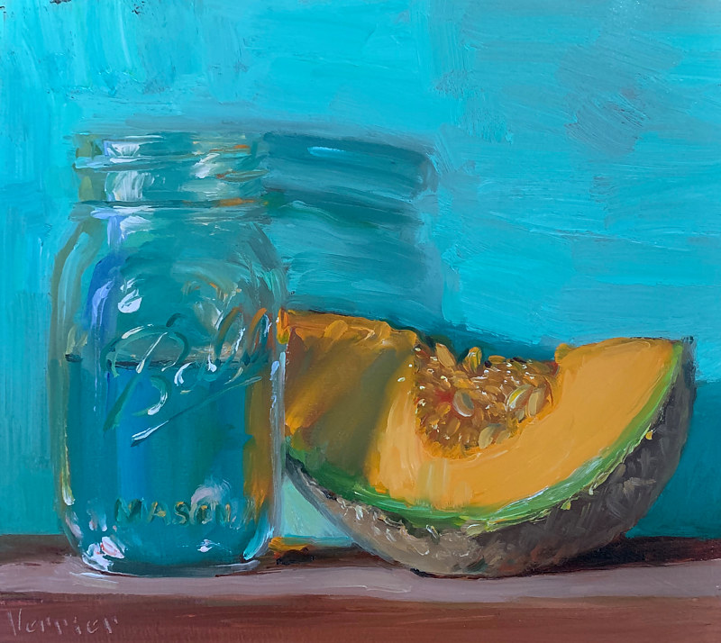 """Cantaloupe & Jar of Water""  by Noah Verrier"
