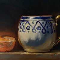 """Orange & Cup w/Gold Handle""  by Noah Verrier"