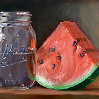 """Watermelon & Jar of Water""  by Noah Verrier"