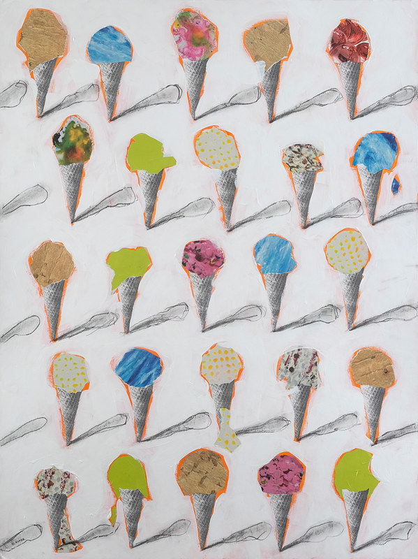 Acrylic painting 25 Cones by Deirdre  Hofer