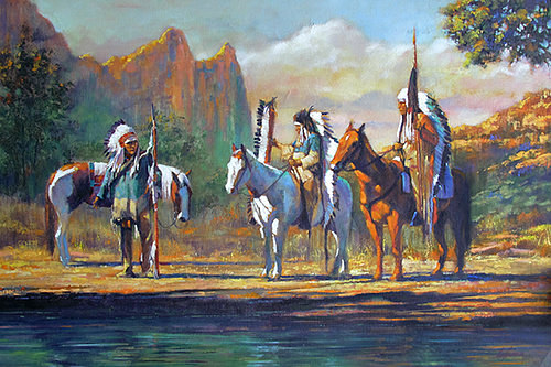 Oil painting Sacred Ground  by Kim Fujiwara