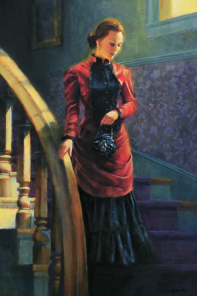 Oil painting Sadie Descending Stairs by Kim Fujiwara